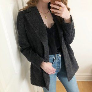 Parisian Madewell Wool Blend Brushweave Cocoon Pea Coat Preppy Trench Jacket - 6
